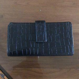 Black Faux Alligator Skin Wallet
